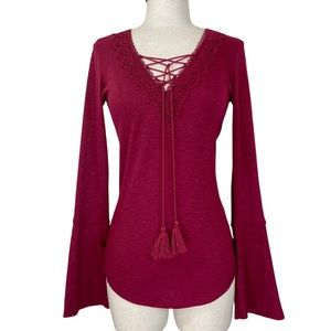 Burgundy ribbed lace up top, v-neck, bell sleeves